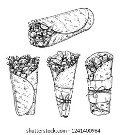 Burritos set. Hand drawn sketch style vector illustrations of traditional mexican fast food. Best for restaurant menu, packages and party designs. Retro drawings isolated on white background.