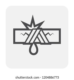 Burst pipe and water leak icon, black and outline.