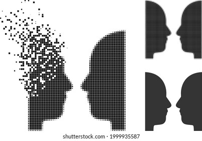 Burst pixelated dual face icon with halftone version. Vector wind effect for dual face icon. Pixelated mist effect for dual face gives speed of virtual abstractions.