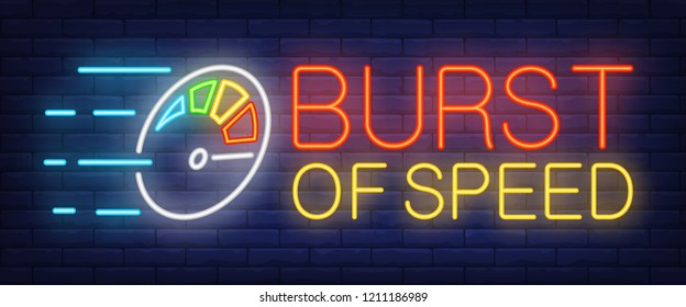 Burst of speed neon sign. Multicolored odometer. Speedometer, tachometer, race. Night bright advertisement. Vector illustration in neon style for transportation, traffic, automobiles
