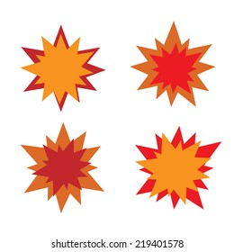 Burst star icons. Red and orange.