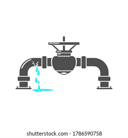 Burst Water Pipe Icon - Vector Illustration