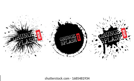 Bursting paint splashes, abstract vector grunge design elements for website presentation or infographics materials
