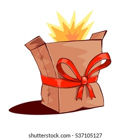 Bursting paper box with red ribbon bow decoration.