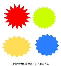 bursting shape speech bubbles set; starburst and sunburst cartoon with different color isolated on white background. vector illustration