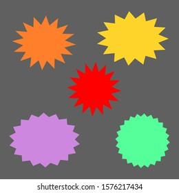 bursting shape speech bubbles set; starburst and sunburst cartoon with different color isolated on dark grey background. vector illustration