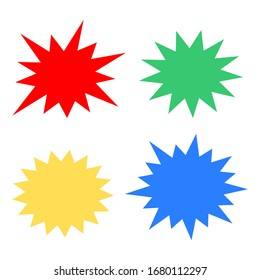 bursting shape speech bubbles set. starburst and sunburst cartoon with different color isolated on white background. vector illustration