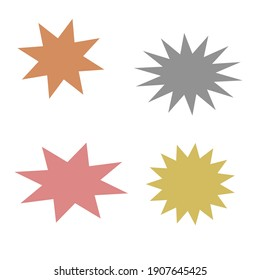 bursting shape speech bubbles set. starburst and sunburst cartoon with different color isolated on white background