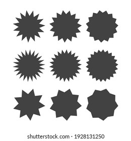 bursting shape speech bubbles set. starburst and sunburst cartoon isolated on white background. vector illustration