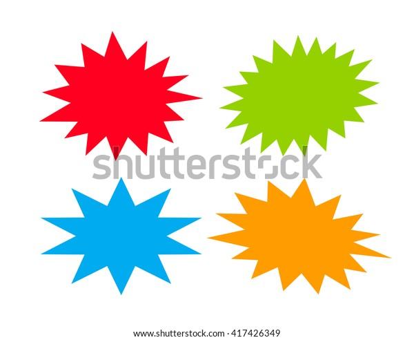 Bursting speech star set, vector illustration isolated on white background