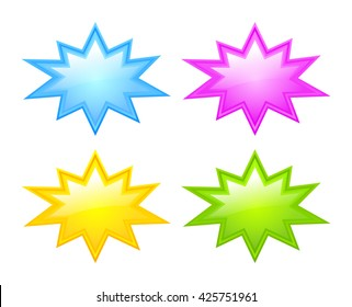 Bursting star icon set vector illustration isolated on white background