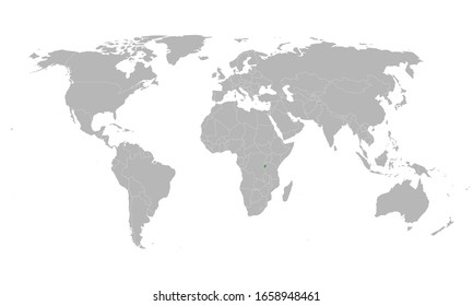 Burundi highlighted green on world map. African country.