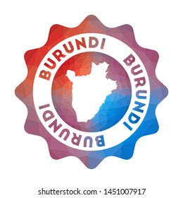 Burundi low poly logo. Colorful gradient travel logo of the country in geometric style. Multicolored polygonal Burundi rounded sign with map for your infographics.