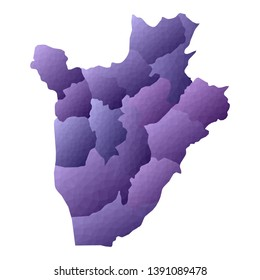 Burundi map. Geometric style country outline. Bizarre violet vector illustration.