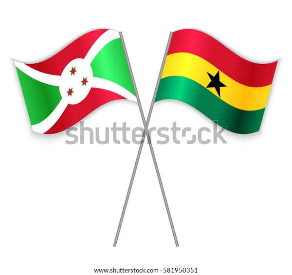 Burundian and Ghanaian crossed flags. Burundi combined with Ghana isolated on white. Language learning, international business or travel concept.