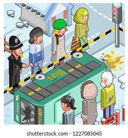Bus accident on slippery road in wintertime, police officer and onlookers staring, standing around vehicle (vector cartoon)