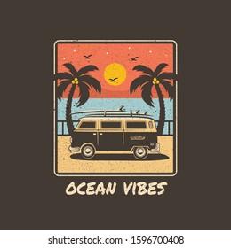 Bus Car Surfing Summer Illustration