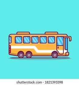 Bus Cartoon Vector Icon Illustration. Transportation Icon Concept Isolated Premium Vector. Flat Cartoon Style