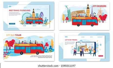 Bus City Tours, Excursionist Services for Travelers, Vacation World Trip Trendy Flat Vector Web Banners, Landing Pages Set. Tourists Going on Travel with Hop-on-Hop-Off Bus, Making Selfie Illustration