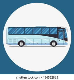 bus city transportation set. Modern flat design. Vector illustration