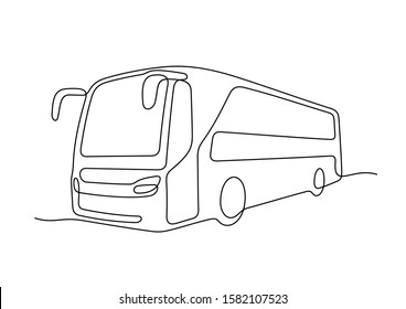 Bus continuous line vector illustration