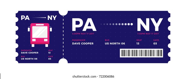 Bus entrance vector tickets templates. Ticket for travelling in bus Modern elegant illustration template of Ticket Card. Bus Pass design