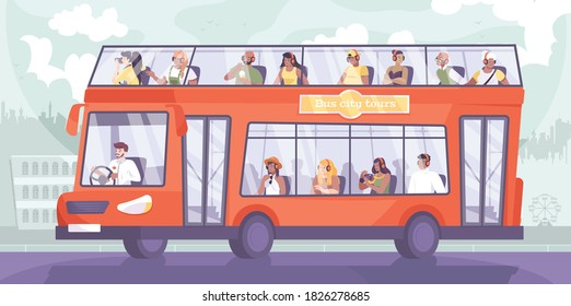 Bus excursion flat composition with cityscape silhouette background and doubledeck sightseeing bus with group of tourists vector illustration