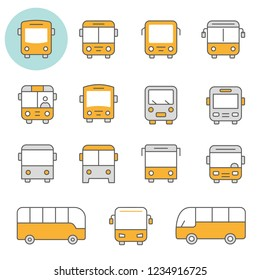 Bus flat line icons. Editable Stroke. Change to any size and any colour.