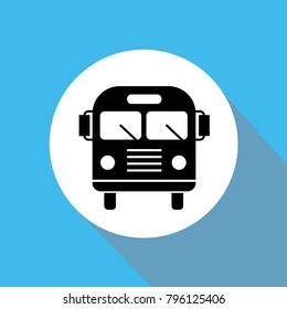 Bus front vector icon for public transport blue background flat shadow white circle
