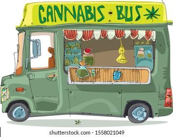 Bus full of all sorts marijuana. Cannabis fest. Street selling of weeds. Cartoon. Caricature.