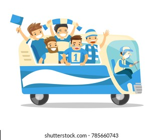 Bus full of cheerful caucasian white football team players in blue outfit celebrating the victory in the football championship. Vector cartoon illustration isolated on white background. Square layout.