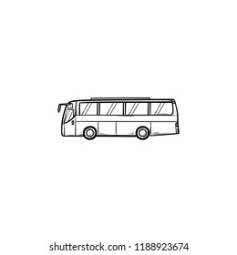 Bus hand drawn outline doodle icon. Public transport and station, bus trip and tourism, city traffic concept. Vector sketch illustration for print, web, mobile and infographics on white background.