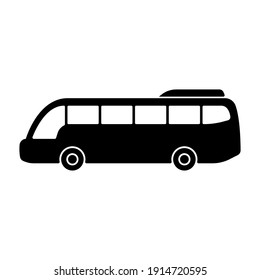 Bus icon. Black silhouette. Side view. Vector flat graphic illustration. The isolated object on a white background. Isolate.
