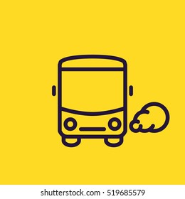 Bus icon. Common mass transit pictogram. Thin line style, yellow background.