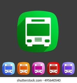 Bus icon flat web sign symbol logo label set