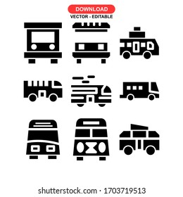 bus icon or logo isolated sign symbol vector illustration - Collection of high quality black style vector icons