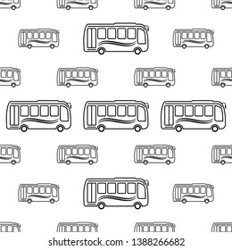 Bus Icon Seamless Pattern, Bus Vector Art Illustration