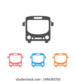 Bus icon set symbol vector on white