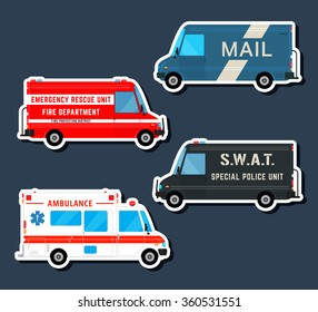 Bus icon. Set various city urban traffic vehicles icons. Mail delivery van, ambulance truck, fire department car, swat police bus isolated. Side view. Vector illustration.