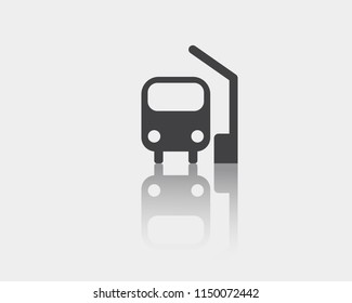 Bus icon, bus station vector web icon isolated on white background with mirror reflection, EPS 10, top view