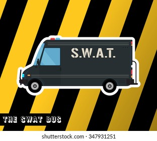 Bus icon. Swat truck isolated. Police bus, car, truck. Special squad vehicle. Vector illustration
