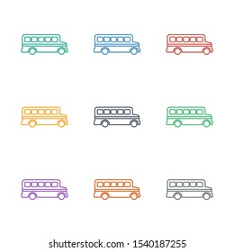 bus icon white background. Editable line bus icon from education. Trendy bus icon for web and mobile.