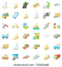 Bus icons set. Cartoon style of 36 bus vector icons for web isolated on white background