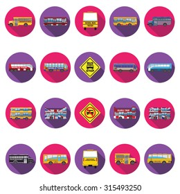 Bus icons set in flat design with long shadow. Illustration EPS10