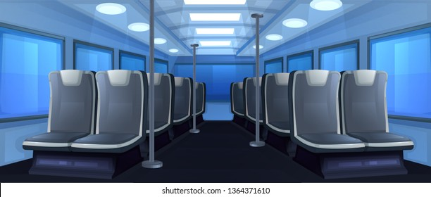 Bus inside. Seats in transport when traveling at day. Road to vacation. Vector cartoon illustration