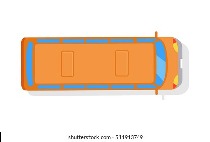 Bus isolated vector icon on white background. View from above. Orange autobus, top, passenger, transportation, public transport. Single illustration object. For poster, postcard, ad, website banner