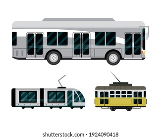 bus metro tram vehicle transport public service icons vector illustration
