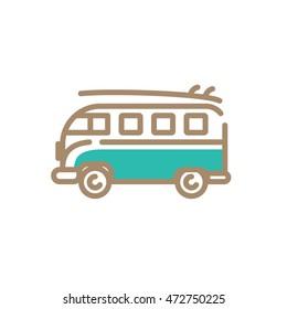 Bus, Mini bus, Surf, board, Icon, Pictogram, Symbol, Flat, Summer