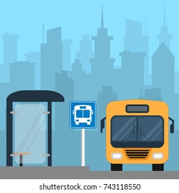 Bus near the bus stop in the city. Public transport. Cityscape on background. Ground city transport. Vector illustration