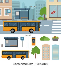 Bus on the street in the town vector flat illustrations.